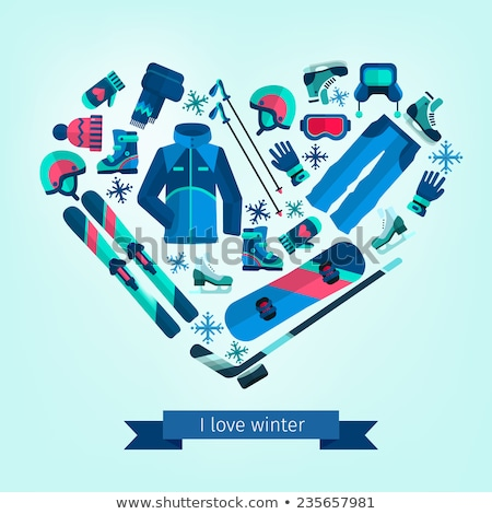 Winter sports, snowboarding - flat design style colorful illustration Stock photo © Decorwithme