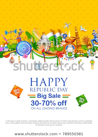 mutlu · cumhuriyet · gün · Hindistan · satış · afiş - stok fotoğraf © vectomart
