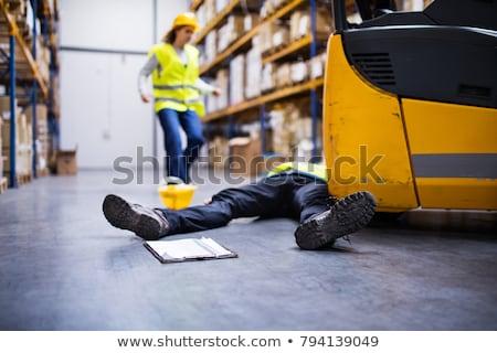 Sebesült munkás padló magasról fotózva kilátás létra Stock fotó © AndreyPopov
