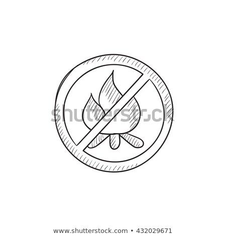 verbod · teken · hand · stoppen · geen · brand - stockfoto © rastudio