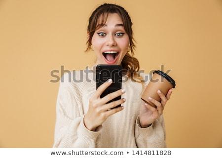 Feliz joven suéter pie aislado Foto stock © deandrobot