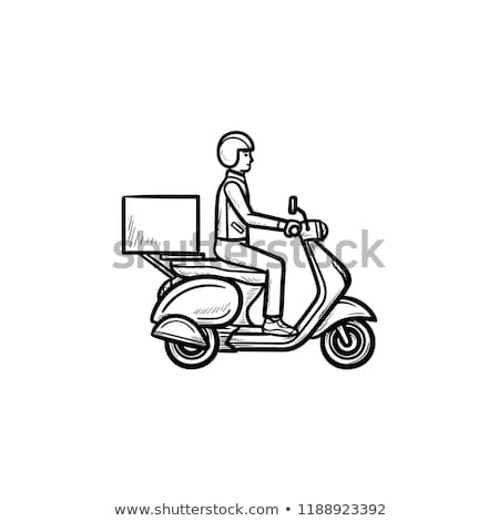 employee riding delivery bike hand drawn outline doodle icon stock photo © rastudio