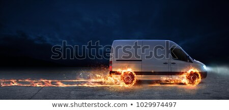super fast delivery of package service with van with wheels on fire 3d rendering stock photo © alphaspirit