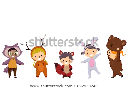 Stickman Kids Woodland Animals Costumes Stock photo © lenm