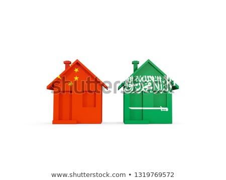 Dwa domów flagi Chiny Arabia Saudyjska odizolowany Zdjęcia stock © MikhailMishchenko
