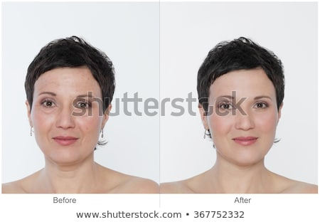 Retouch face of beautiful brunette woman before and after. Stock photo © studiolucky