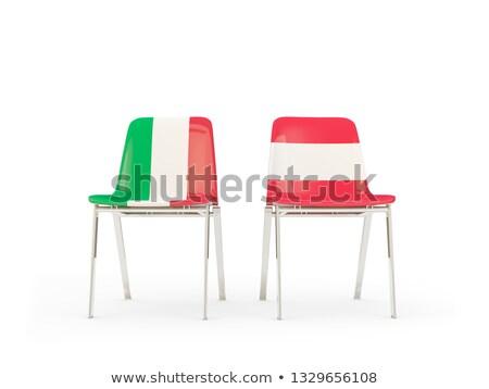 Deux chaises drapeaux Italie Autriche isolé Photo stock © MikhailMishchenko