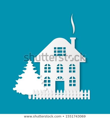 house silhouette three storey estate dwelling stock photo © robuart