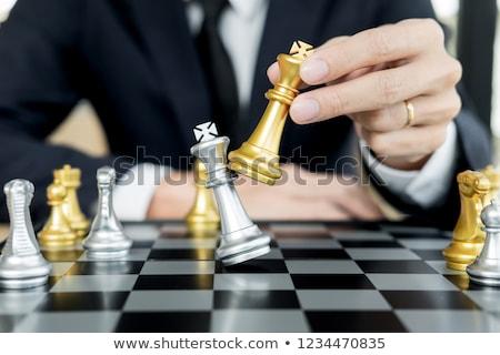 zakenman · spelen · schaken · cijfer · schaakmat - stockfoto © snowing