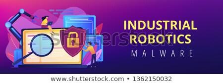 Industriële banner ontwikkelaars robot werk Stockfoto © RAStudio