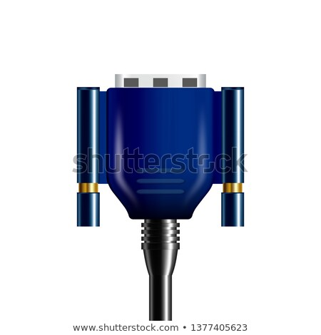 Realistic Blue Vga Display Connector Plug Vector Stock photo © pikepicture