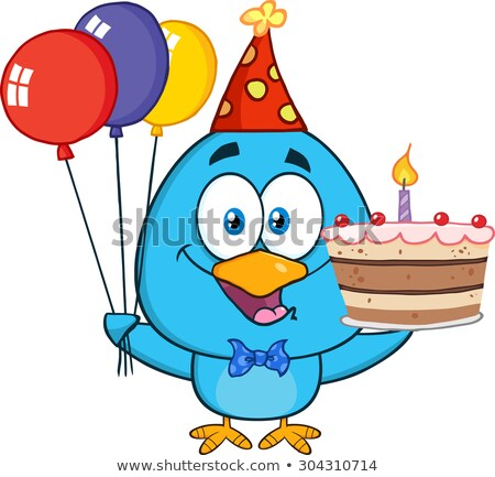 Cute Blue Bird Holding Up A Colorful Balloons And Birthday Cake Stock photo © hittoon