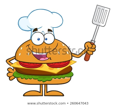 Chef Hamburger Cartoon Character Holding A Slotted Spatula By A Barbecue Stock photo © hittoon