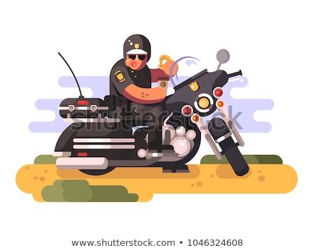 Komisarz pączek kawy motocykla policjant Zdjęcia stock © jossdiim