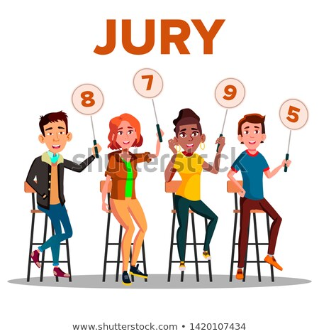characters jury with sign boards show score vector stock photo © pikepicture