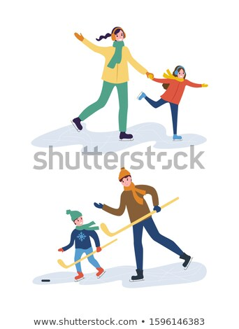 Hockey Training of Father and Son, Mother with Kid Stock photo © robuart