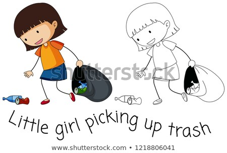 Doodle good girl pick up trash stock photo © colematt