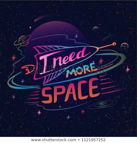 астронавт · неоновых · Label · пространстве · поощрения · человека - Сток-фото © anna_leni