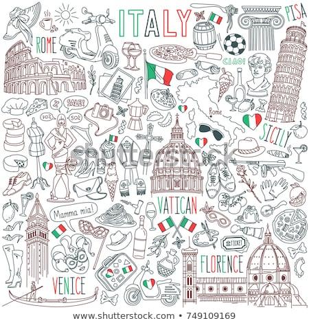 Włochy gryzmolić zestaw słynny Rzym punkt orientacyjny Zdjęcia stock © netkov1