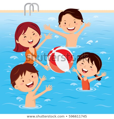 male playing ball in pool water activity vector stock photo © robuart