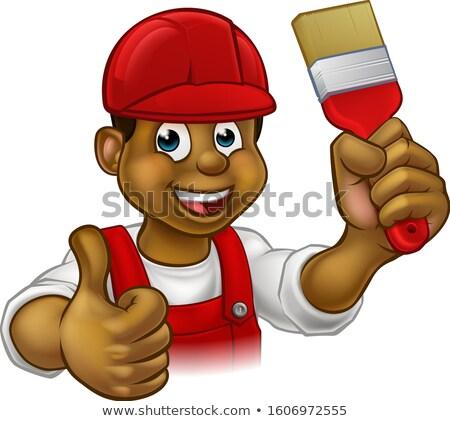 Painter Decorator Paintbrush Handyman Cartoon Man Stock photo © Krisdog
