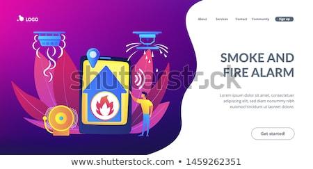 tűzjelző · láng · ház · távoli · értesítés · okos - stock fotó © rastudio
