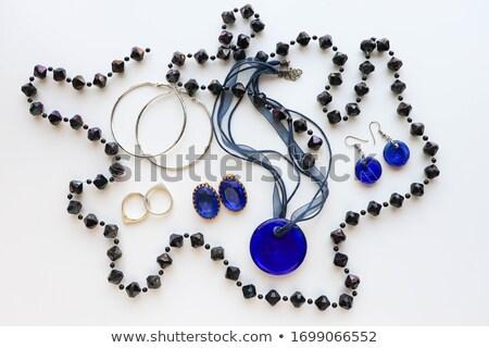 bela · mulher · safira · colar · moda · elegante · elegante - foto stock © serdechny