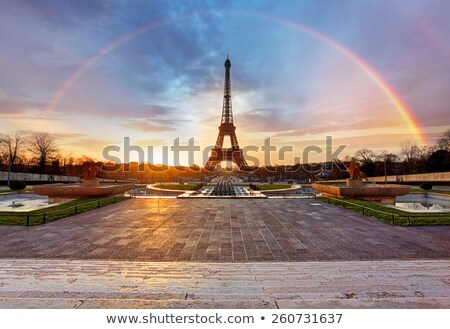 パリ ストリートビュー 虹 空 雨 伝統的な ストックフォト © dariazu