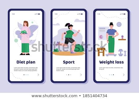 fut · fitnessz · részletes · illusztráció · app · szívritmus - stock fotó © tele52