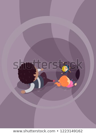 Stickman Kids Slide Down Tunnel Illustration Stock photo © lenm