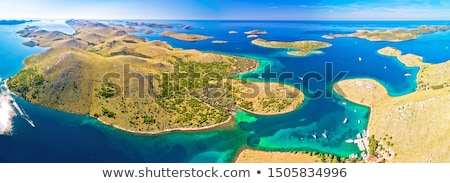 Kornati island archipelago national park aerial turquoise coastl Stock photo © xbrchx