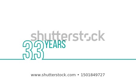 Stock photo: 33 years anniversary or birthday. Linear outline graphics. Can be used for printing materials, brouc
