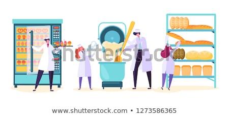 Werknemer banketbakkerij winkel snoep Stockfoto © dolgachov