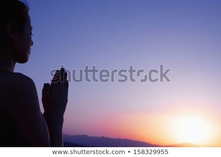 young woman meditating in the desert stock photo © galitskaya