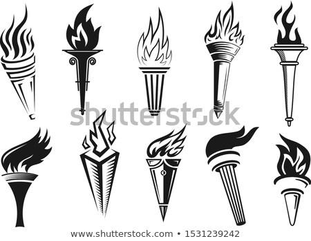 Lampe de poche lumière bâton flamme monochrome vecteur Photo stock © pikepicture