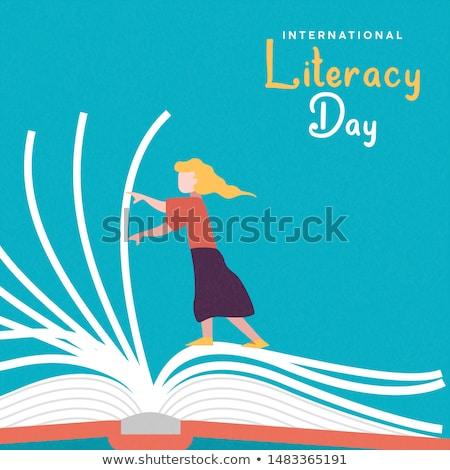 リテラシー 日 カード 少女 開いた本 ストックフォト © cienpies