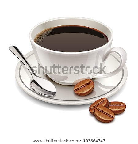 Coffee Cup On Saucer With Spoon Color Vector Stock photo © pikepicture