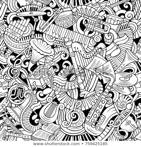 Cartoon line art cute doodles Classic music illustration Stock photo © balabolka