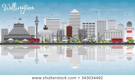 Wellington linha do horizonte cinza edifícios blue sky Foto stock © ShustrikS