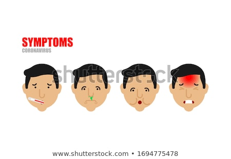 Symptoms of Coronovirus set. Sore throat, fever and cough. Weakn Stock photo © popaukropa