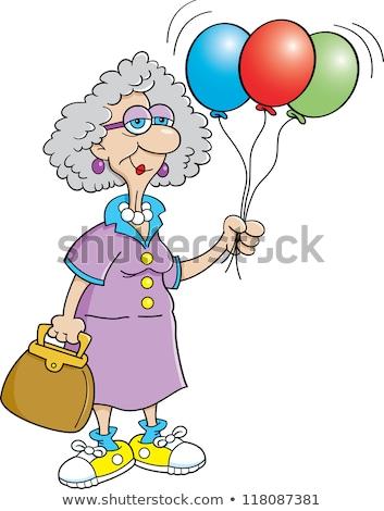 Idős személy hölgy tart léggömbök feketefehér illusztráció Stock fotó © bennerdesign