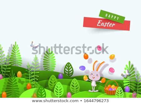 Happy easter card papercut spring rabbit and eggs Stock photo © cienpies