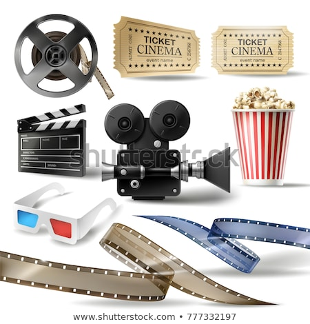 Movie Elements, Popcorn and Reel with Tape Vector Stock photo © robuart