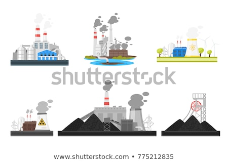 Factory or power plants pipes set pollute the air. Smoke from the pipes. Vector illustration in flat Stock photo © designer_things