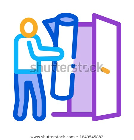 man bringing carpet to apartment icon vector outline illustration Stock photo © pikepicture