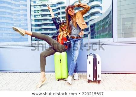 Gyönyörű lány szórakozás repülőgép gyönyörű haj férfi Stock fotó © ruslanshramko