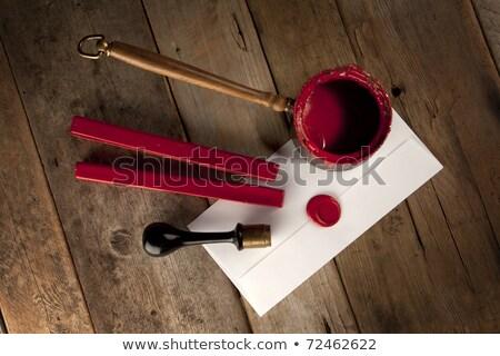 Kırmızı balmumu personel damga pot mektup Stok fotoğraf © premiere