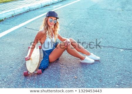 Mädchen Badeanzug Sonnenbrillen Frau Lächeln Auge Stock foto © Paha_L