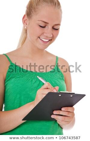 zakenvrouw · geïsoleerd · witte · mooie · bril - stockfoto © azmo31
