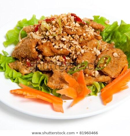 Leharcolt marhahús földimogyoró tányér izolált fehér Stock fotó © zybr78